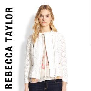 Rebecca Taylor White Eyelet Zipper Moto Jacket
